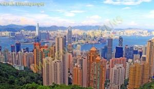 Vista de Hong Kong a partir do alto da montanha Peak/ Ansicht von Hong Kong aus dem Peak-Gipfel/ View of Hong Kong from the Peak mountain top