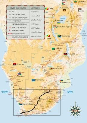 Mapa da África do Sul retirado do site da Rovos Rail.