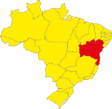 The location of Bahia in Brazil.