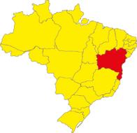 Localização do estado da Bahia no Brasil.