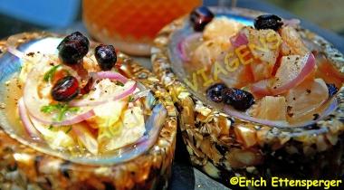 Ceviches maravilhosos/Köstliche Ceviches (Fisch in Limettensaft)
