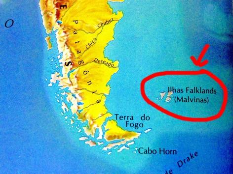 Localização das Ilhas Falkland em relação ao continente americano