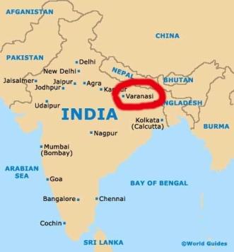 Mapa de localização de Varanasi na Índia/Varanasi Lageplan Indien/Varanasi Location map India