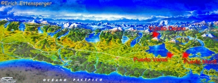 Mapa da Região dos Lagos do Chile / Landkarte der Seen-Region in Chile / Map of the Lakes Region of Chile