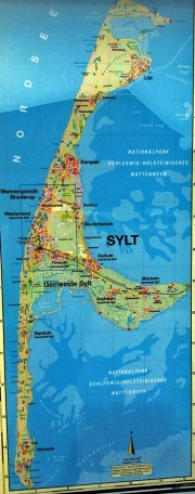 Mapa da ilha de Sylt/Karte der Insel Sylt/Map of island Sylt