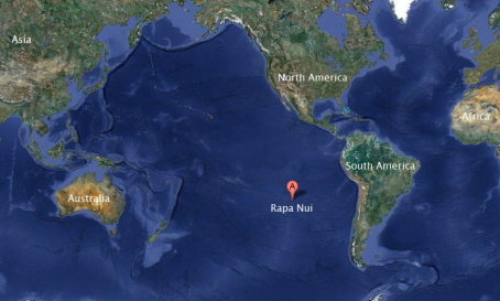 Map of location of Easter Island from Google.