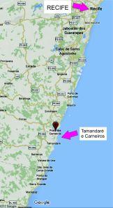 Localização de Tamandaré e Carneiros/Location of Tamandaré and Carneiros.Fonte/source: Google Map